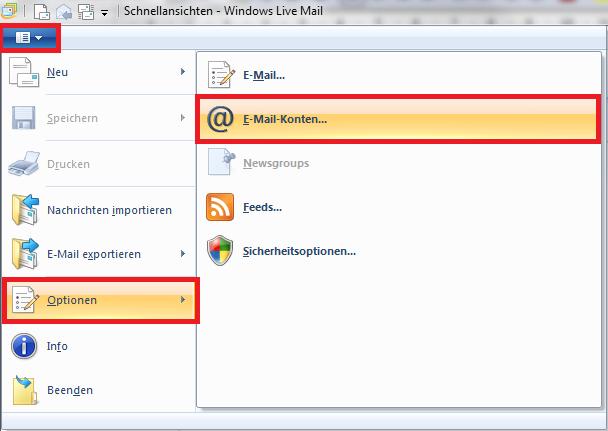 windows mail account löschen